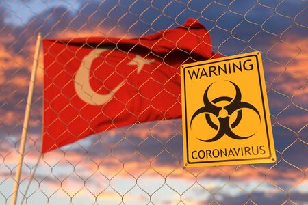 Coronavirus warning sign on the fence on the Turkish flag background. Restricted border crossing or quarantine in Turkey. Conceptual 3D rendering