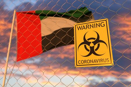 Coronavirus biohazard sign against the UAE flag. Restricted border crossing or quarantine. Conceptual 3D rendering