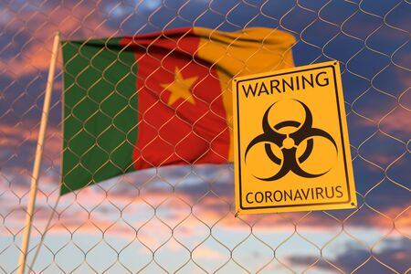 Coronavirus warning sign on the fence on the Cameroonian flag background. Restricted entry or quarantine in Cameroon. Conceptual 3D rendering