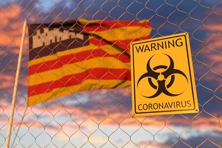 Coronavirus warning sign on the fence against waving flag 3D