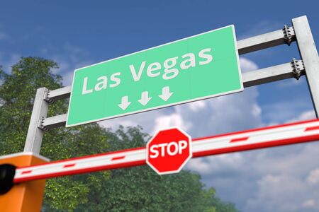 Barrier gate at Las Vegas road sign, United States. Conceptual coronavirus or some other disease quarantine related 3D rendering