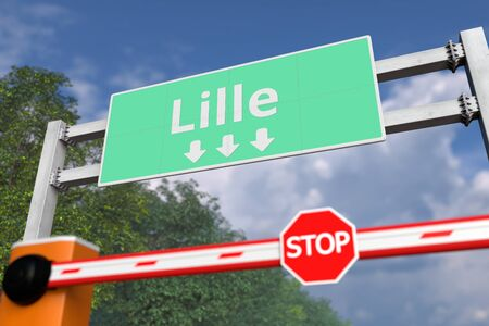 Road block near Lille, France road sign. Coronavirus or some other disease quarantine related 3D rendering Stock Photo