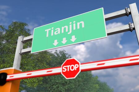 Closed boom barrier near Tianjin, China road sign. Coronavirus or some other disease quarantine related 3D rendering