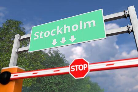 Boom gate near Stockholm, Sweden road sign. Coronavirus or some other disease quarantine related 3D rendering
