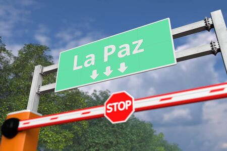 Road closure near La Paz, Bolivia road sign. Coronavirus or some other disease quarantine related 3D rendering