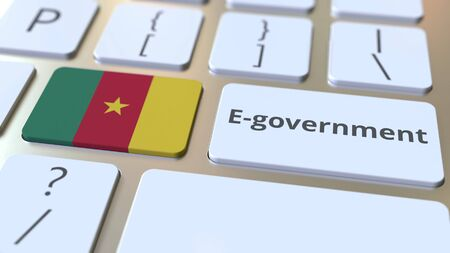 E-government or Electronic Government text and flag of Cameroon on the keyboard. Modern public services related conceptual 3D rendering