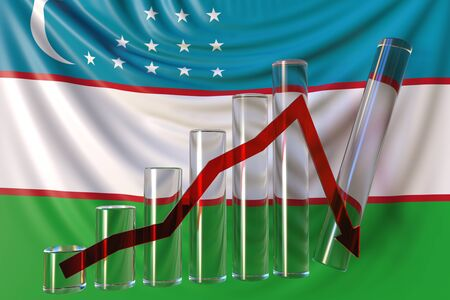 Bar chart with downward trend against flag of Uzbekistan. Financial crisis or economic meltdown related conceptual 3D rendering Stock Photo