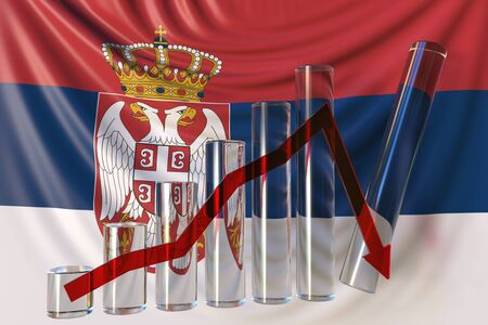 Bar chart with downward trend against flag of Serbia. Financial crisis or economic meltdown related conceptual 3D rendering