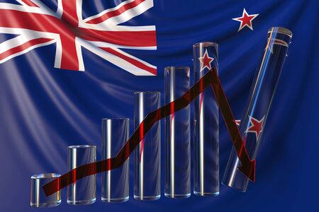 Bar chart with downward trend against flag of New Zealand. Financial crisis or economic meltdown related conceptual 3D rendering