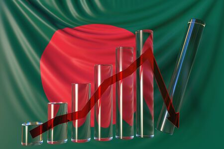 Glass bar chart with downward trend against flag of Bangladesh. Financial crisis or economic meltdown related conceptual 3D rendering