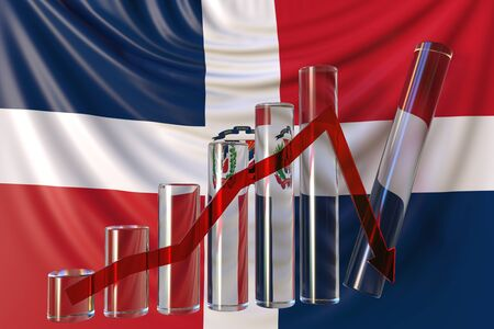 Glass bar chart with downward trend against flag of the Dominican Republic. Financial crisis or economic meltdown related conceptual 3D rendering