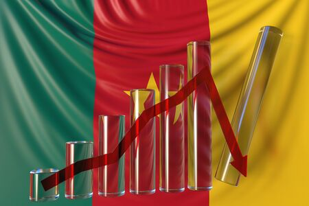 Glass bar chart with downward trend against flag of Cameroon. Financial crisis or economic meltdown related conceptual 3D rendering
