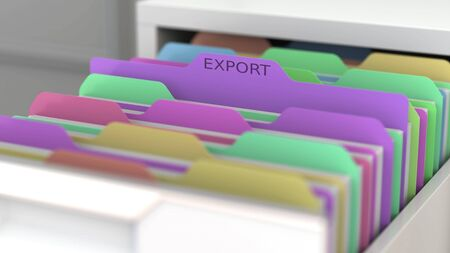 File with export related papers in the office file cabinet. 3D rendering Фото со стока