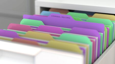 File with a criminal record in the office file cabinet. 3D rendering