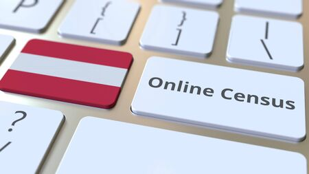 Online Census text and flag of Austria on the keyboard. Conceptual 3D rendering