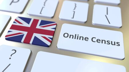 Online Census text and flag of the UK on the keyboard. Conceptual 3D rendering