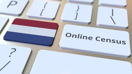 Online Census text and flag of the Netherlands on the keyboard. Conceptual 3D rendering