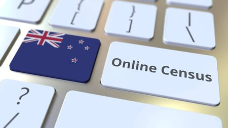Online Census text and flag of New Zealand on the keyboard. Conceptual 3D rendering 版權商用圖片