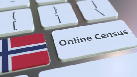 Online Census text and flag of Norway on the keyboard. Conceptual 3D rendering