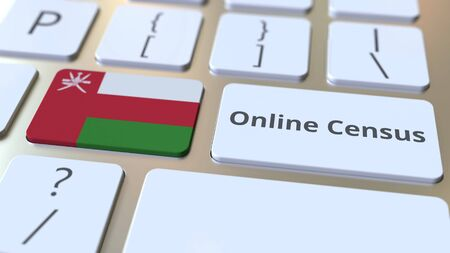 Online Census text and flag of Oman on the keyboard. Conceptual 3D rendering