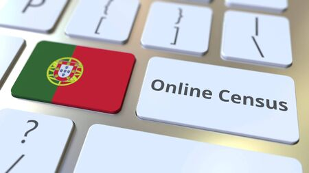 Online Census text and flag of Portugal on the keyboard. Conceptual 3D rendering