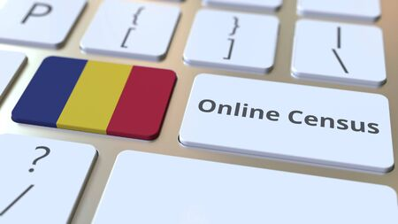 Online Census text and flag of Romania on the keyboard. Conceptual 3D rendering