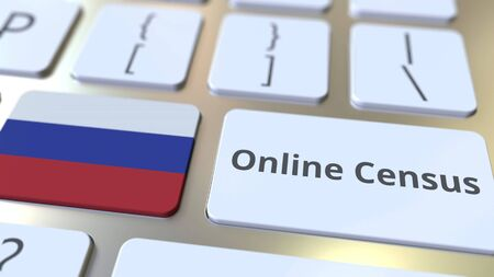 Online Census text and flag of Russia on the keyboard. Conceptual 3D rendering 版權商用圖片