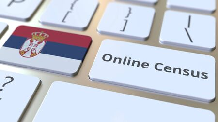 Online Census text and flag of Serbia on the keyboard. Conceptual 3D rendering 版權商用圖片