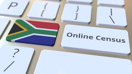 Online Census text and flag of South Africa on the keyboard. Conceptual 3D rendering 版權商用圖片