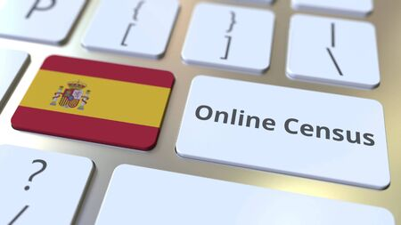 Online Census text and flag of Spain on the keyboard. Conceptual 3D rendering