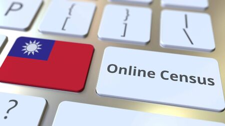 Online Census text and flag of Taiwan on the keyboard. Conceptual 3D rendering