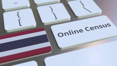 Online Census text and flag of Thailand on the keyboard. Conceptual 3D rendering
