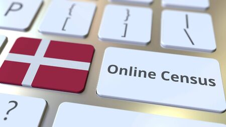 Online Census text and flag of Denmark on the keyboard. Conceptual 3D rendering