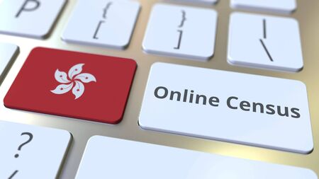 Online Census text and flag of Hong Kong on the keyboard. Conceptual 3D rendering