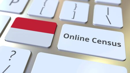Online Census text and flag of Indonesia on the keyboard. Conceptual 3D rendering
