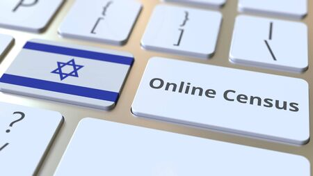 Online Census text and flag of Israel on the keyboard. Conceptual 3D rendering