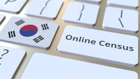 Online Census text and flag of South Korea on the keyboard. Conceptual 3D rendering 版權商用圖片