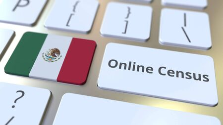 Online Census text and flag of Mexico on the keyboard. Conceptual 3D rendering 版權商用圖片