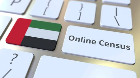 Online Census text and flag of the United Arab Emirates UAE on the keyboard. Conceptual 3D rendering 版權商用圖片