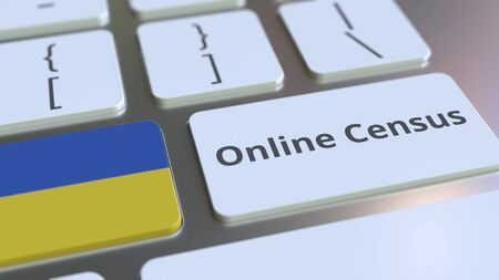 Online Census text and flag of Ukraine on the keyboard. Conceptual 3D rendering