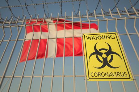 Coronavirus warning sign on the fence on the Danish flag background. Quarantine in Denmark, conceptual 3D rendering
