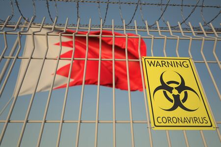 Biohazard sign against the flag. Restricted entry or quarantine. Conceptual 3D