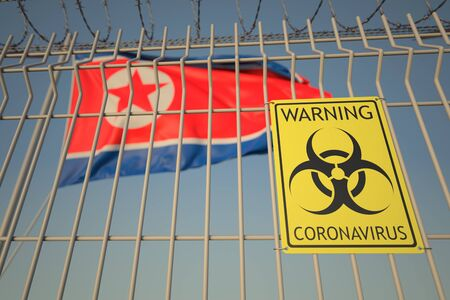 Coronavirus warning sign on the fence on the North korean flag background. Quarantine in North korea, conceptual 3D rendering Imagens