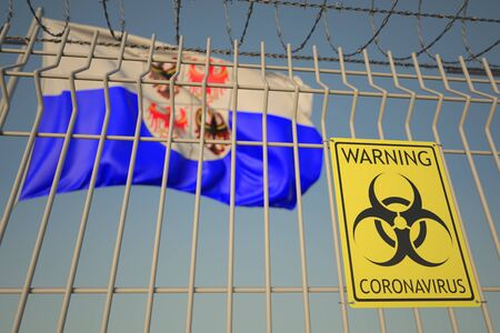 Coronavirus warning sign on the barbed wire fence near flag of Trentino-Alto Adige, a region of Italy. COVID-19 quarantine related 3D rendering