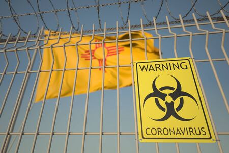 Coronavirus warning sign on the fence against flag of the state 3D
