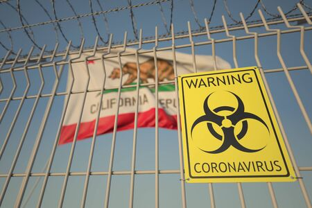 Coronavirus warning sign on the barbed wire fence against flag of California. COVID-19 quarantine related 3D rendering