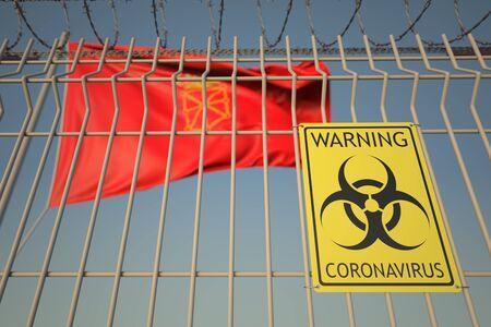 Coronavirus warning sign on the fence against flag 3D Stock Photo