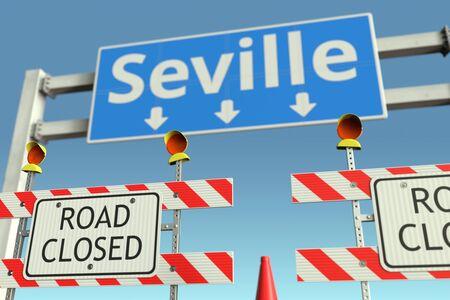 Road barriers at Seville city traffic sign. Coronavirus disease quarantine or lockdown in Spain conceptual 3D rendering Stock Photo