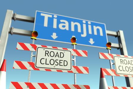 Traffic barricades near Tianjin city traffic sign. Coronavirus disease quarantine or lockdown in China conceptual 3D rendering