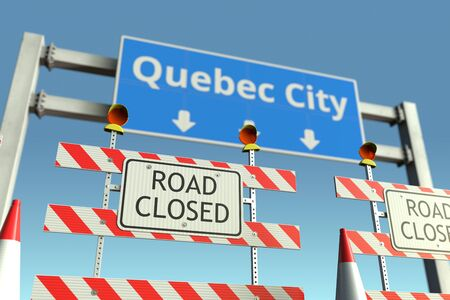 Traffic barricades near Quebec City traffic sign. Lockdown in Canada conceptual 3D rendering